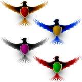 Σημάδι ασπίδων τιμής αετών πουλιών ελεύθερη απεικόνιση δικαιώματος
