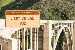 Σημάδι γεφυρών 1932 Bixby Στοκ εικόνες με δικαίωμα ελεύθερης χρήσης