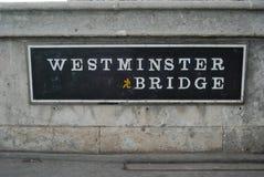 Σημάδι γεφυρών Westmister Στοκ εικόνες με δικαίωμα ελεύθερης χρήσης