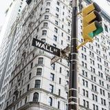 Σημάδι για την πόλη Γουώλ Στρητ Νέα Υόρκη Στοκ Εικόνα