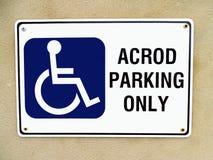 Σημάδι για το χώρο στάθμευσης ACROD Στοκ φωτογραφία με δικαίωμα ελεύθερης χρήσης
