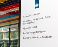 Σημάδι γραφείων στο ολλανδικό υπουργείο Οικονομικών, Υπουργείο Interi Στοκ Φωτογραφία