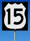 Σημάδι εθνικών οδών για τη διαδρομή 15 Στοκ Φωτογραφία