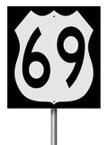 Σημάδι εθνικών οδών για τη διαδρομή 69 ελεύθερη απεικόνιση δικαιώματος