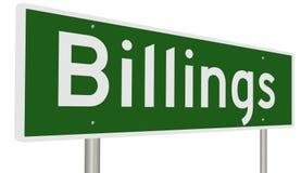 Σημάδι εθνικών οδών για το Billings Μοντάνα Στοκ εικόνα με δικαίωμα ελεύθερης χρήσης