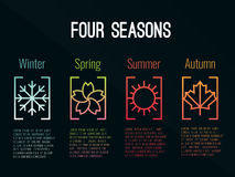 σημάδι εικονιδίων 4 εποχών στις κλίσεις συνόρων με το χειμώνα χιονιού, την άνοιξη λουλουδιών, το καλοκαίρι ήλιων και το διανυσματ απεικόνιση αποθεμάτων
