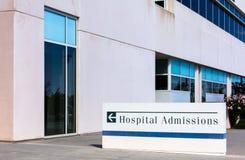 Σημάδι εισαγωγών σε νοσοκομείο Στοκ φωτογραφία με δικαίωμα ελεύθερης χρήσης