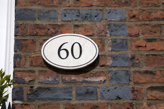 Σημάδι εξήντα αριθμού Στοκ φωτογραφία με δικαίωμα ελεύθερης χρήσης