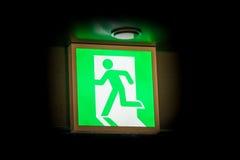 Σημάδι εξόδων κινδύνου που καίγεται στο σκοτάδι Στοκ Εικόνα