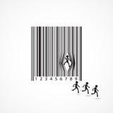 Σημάδι επιχειρηματιών με το γραμμωτό κώδικα φθοράς Κινούμενα σχέδια, επιχειρησιακή έννοια Στοκ Εικόνες