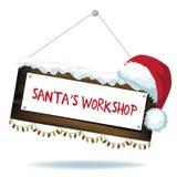 Σημάδι εργαστηρίων Santa's κινούμενων σχεδίων που απομονώνεται διανυσματική απεικόνιση