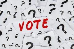 Σημάδι ερώτησης με το κείμενο της ψηφοφορίας Στοκ φωτογραφία με δικαίωμα ελεύθερης χρήσης