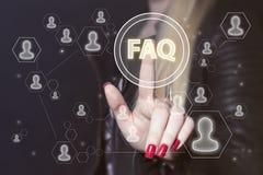 Σημάδι Ιστού σημάτων σύνδεσης επιχειρησιακών κουμπιών FAQ Στοκ εικόνα με δικαίωμα ελεύθερης χρήσης