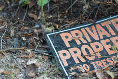 Σημάδι ιδιωτικών ιδιοκτησιών Στοκ Εικόνες