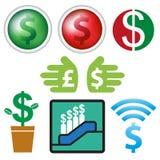 Σημάδι και σχέδιο νομίσματος εικονιδίων επιχειρησιακό Στοκ Εικόνες