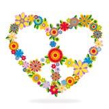 Σημάδι καρδιών ειρήνης φιαγμένο από λουλούδια Στοκ Φωτογραφία