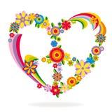 Σημάδι καρδιών ειρήνης φιαγμένο από λουλούδια Στοκ Εικόνες
