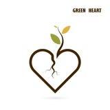 Σημάδι καρδιών και μικρό εικονίδιο δέντρων με την πράσινη έννοια Χρώμιο φύσης αγάπης απεικόνιση αποθεμάτων