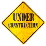 σημάδι κατασκευής κάτω Στοκ Εικόνες