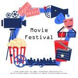 Σημάδι κινηματογράφων με τα εικονίδια κινηματογράφων που τίθενται στο επίπεδο ύφος σχεδίου Στοκ εικόνες με δικαίωμα ελεύθερης χρήσης
