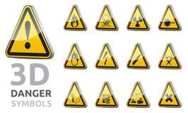 Σημάδι κινδύνου Triangel τρισδιάστατο Στοκ Εικόνες