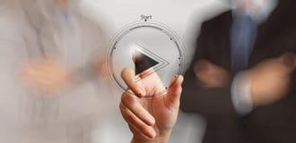 Σημάδι κουμπιών παιχνιδιού Τύπου χεριών για να αρχίσει Στοκ φωτογραφίες με δικαίωμα ελεύθερης χρήσης