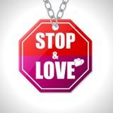 Σημάδι κυκλοφορίας στάσεων και αγάπης Στοκ εικόνα με δικαίωμα ελεύθερης χρήσης