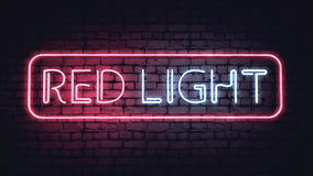 Σημάδι κόκκινου φωτός νέου Στοκ Φωτογραφία