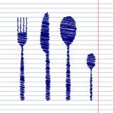 Σημάδι μαχαιριών κουταλιών δικράνων Στοκ Φωτογραφία