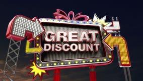 Σημάδι «ΜΕΓΑΛΗ ΕΚΠΤΩΣΗ» πώλησης στην οδηγημένη ελαφριά προώθηση πινάκων διαφημίσεων ελεύθερη απεικόνιση δικαιώματος