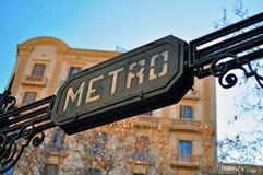 Σημάδι μετρό, Βαρκελώνη Στοκ Εικόνες