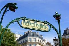 Σημάδι μετρό του Παρισιού ύφους Nouveau τέχνης Στοκ Φωτογραφία