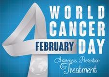 Σημάδι με τη γιγαντιαία να τιμήσει την μνήμη κορδελλών ημέρα καρκίνου όπως τον αριθμό τέσσερα, διανυσματική απεικόνιση Στοκ φωτογραφίες με δικαίωμα ελεύθερης χρήσης