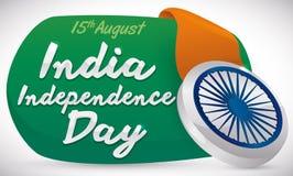 Σημάδι με τη ρόδα Ashoka όπως το διακριτικό για τη ημέρα της ανεξαρτησίας της Ινδίας, διανυσματική απεικόνιση Στοκ φωτογραφία με δικαίωμα ελεύθερης χρήσης