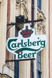 Σημάδι μπύρας Carlsberg Στοκ Φωτογραφίες