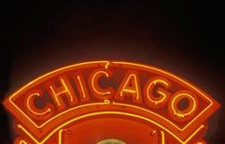 Σημάδι νέου του Σικάγου, Σικάγο, Ιλλινόις Στοκ Φωτογραφίες