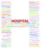 Σημάδι νοσοκομείων με τις ιατρικές ειδικότητες απεικόνιση αποθεμάτων