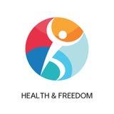 Σημάδι λογότυπων ατόμων - υγεία & ελευθερία Στοκ φωτογραφία με δικαίωμα ελεύθερης χρήσης