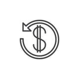 Σημάδι δολαρίων με το βέλος γύρω από το εικονίδιο γραμμών, διανυσματικό σημάδι περιλήψεων Στοκ Φωτογραφίες