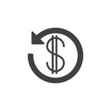 Σημάδι δολαρίων με το βέλος γύρω από το διανυσματικό, γεμισμένο επίπεδο glyph εικονιδίων, στερεό εικονόγραμμα που απομονώνεται στ Στοκ Φωτογραφία