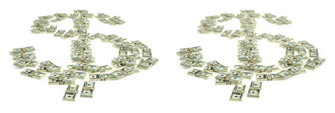 Σημάδι δολαρίων που γίνεται από τους λογαριασμούς δολαρίων Στοκ Φωτογραφία