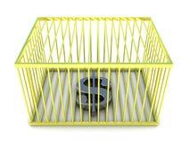 Σημάδι δολαρίων στο χρυσό κλουβί Στοκ φωτογραφίες με δικαίωμα ελεύθερης χρήσης