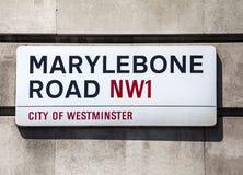Σημάδι οδικών οδών Marylebone στο Λονδίνο Στοκ φωτογραφίες με δικαίωμα ελεύθερης χρήσης
