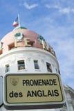 Σημάδι οδών διάσημος Promenade des Anglais στη Νίκαια Στοκ Εικόνα
