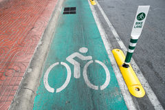 Σημάδι οδών παρόδων ποδηλάτων στη Μπανγκόκ στοκ εικόνα