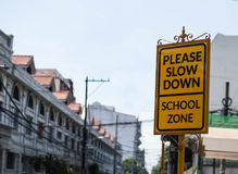 Σημάδι οδών σχολικής ζώνης Στοκ Φωτογραφία