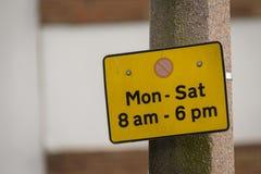 Σημάδι περιορισμού χώρων στάθμευσης Στοκ φωτογραφίες με δικαίωμα ελεύθερης χρήσης