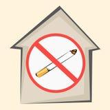 Σημάδι περιοχής απαγόρευσης του καπνίσματος Εικονίδιο σπιτιών και χτυπημένο έξω τσιγάρο επίσης corel σύρετε το διάνυσμα απεικόνισ διανυσματική απεικόνιση