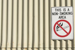 Σημάδι περιοχής απαγόρευσης του καπνίσματος κινδύνου στην οικοδόμηση Στοκ Εικόνες