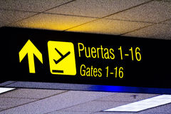 Σημάδι Περού Νότια Αμερική του Γκέιτς αερολιμένων (Puertas) Στοκ Εικόνες